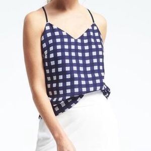 Banana Republic Navy and White Gingham Tank Top
